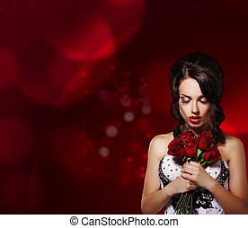 Tenderness. Dreamy Woman with Bouquet of Flowers over Purple Background