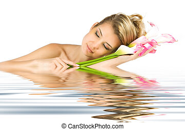 Tenderness with reflection in water - Blonde lady dreaming ...