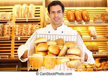 tendero, cesta, bread