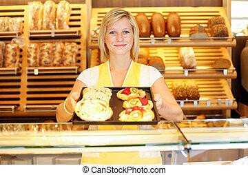 tendero, tienda, lleno, tableta, panadero, pastel