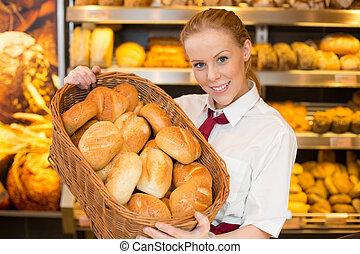 tendero, tienda, panadero, bollos, presentación, cesta