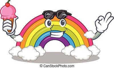 tendo, arco íris, gelo, desenho, caricatura, creme, conceito