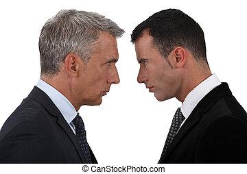 tendo, homens negócios, disputa