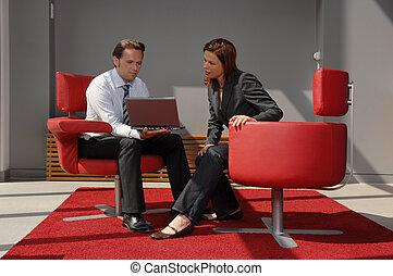 tendo, reunião, dois, pessoas negócio