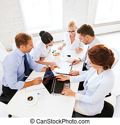 tendo, reunião, escritório, equipe negócio