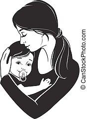 tendre, étreint, mère, elle, enfant