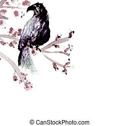 tendre, arbre, oiseau