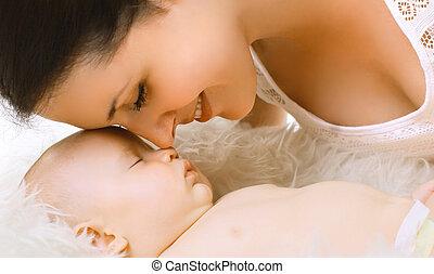 tendre, closeup, maman, bébé, sommeil, sensuelles
