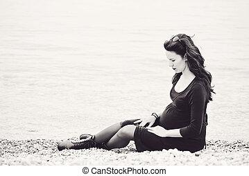 tendre, femme, pregnant