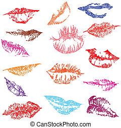 tendre, lèvres, ensemble, lustré, kiss.