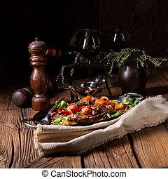 tendre, légumes, divers, complété, boeuf