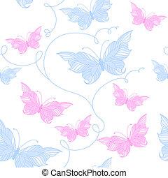 tendre, modèle, papillons, seamless