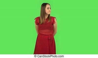 tendre, robe verte, waiting., écran, girl, rouges