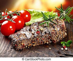 tendre, succulent, bifteck, poivré