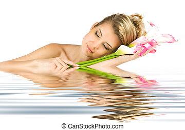 tendresse, à, reflet, dans, eau