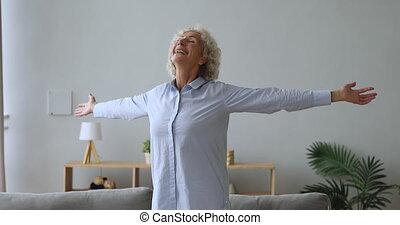tendu, salle, ravi, position femme, personne agee, vivant, ...
