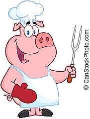 tenedor, chef, feliz, tenencia, cerdo