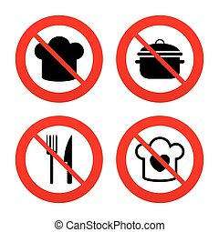 tenedor, cocina, icons., jefe, sombrero, knife., cacerola