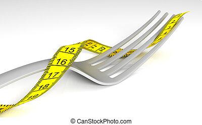 tenedor, con, cinta medición