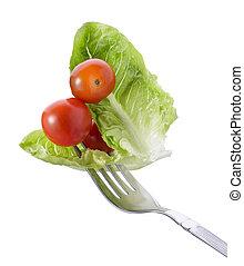 tenedor, con, vegetal
