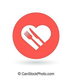 tenedor, concepto, illustration., corazón, sano, signo.,...