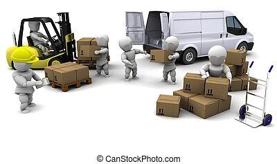 tenedor, conducción, aislado, levantamiento, camión, blanco,...