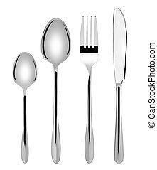 tenedor, conjunto, -, aislado, cuchara, plano de fondo, nuevo, blanco, cubiertos, brillante, cuchillo, cubertería