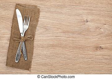 tenedor, conjunto, cubiertos, cubertería, o, cuchillo