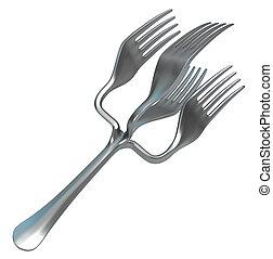 tenedor, cuádruple