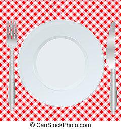 tenedor, cuadrado, placa, cuchara, mantel, rojo
