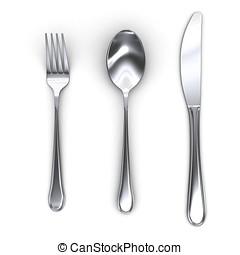 tenedor, cuchara, cuchillo, 3d