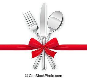 tenedor, cuchara, cuchillo, con, rojo, bow., conjunto, de, utensilios, para, eating.