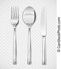tenedor, cuchara, knife., conjunto, de, utensilios, para, comida