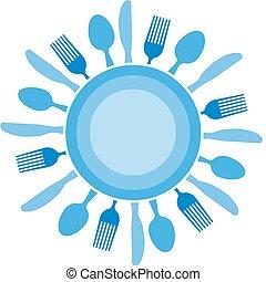 tenedor, cuchillo, y, placa, organizado, como, azul, sol
