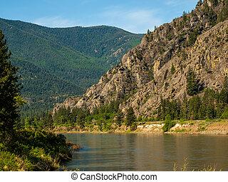 tenedor, de par en par, río, estados unidos de américa, clark, montaña, -, montana, cortes, valle
