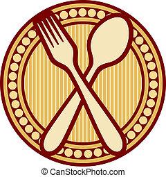tenedor, diseño, cuchara, cruzado