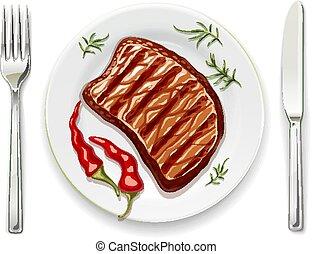 tenedor, filete, vector, carne, illustration.