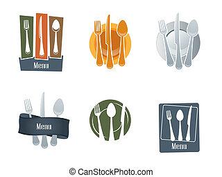 tenedor, logotipo, cuchara, restaurante