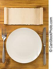 tenedor, madera, cuchillo, placa