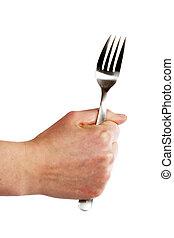 tenedor, mano