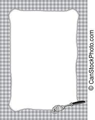 tenedor, pastas, marco, giro, b/w