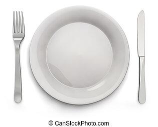 tenedor, placa, alimento, imagen, -, cuchillo, acción