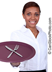 tenedor, placa, camarera, tenencia, cuchillo