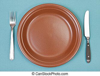 tenedor, placa, cima, cerámico, verde, cuchillo, vista