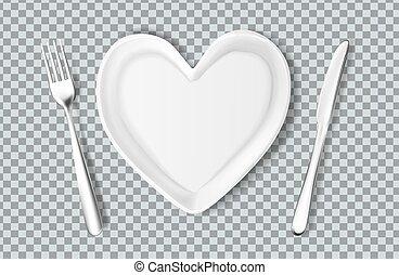 tenedor, placa, corazón, forma, vector, cuchillo