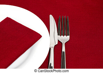tenedor, placa, cuchillo, blanco, mantel, rojo