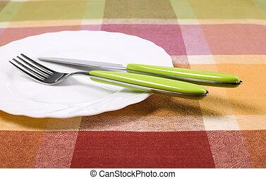 tenedor, placa, cuchillo, tabla