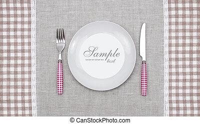 tenedor, placa, cuchillo, vacío