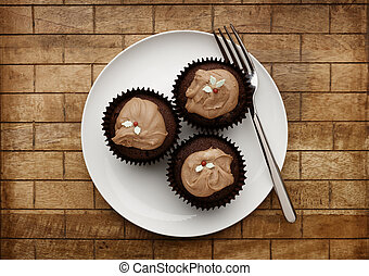 tenedor, placa, de madera, chocolate, 3, plano de fondo, blanco, hada, pasteles