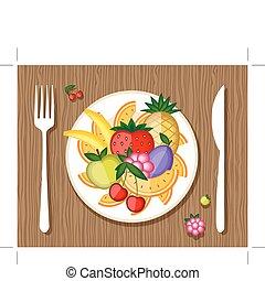 tenedor, placa, de madera, diseño, plano de fondo, fruits,...